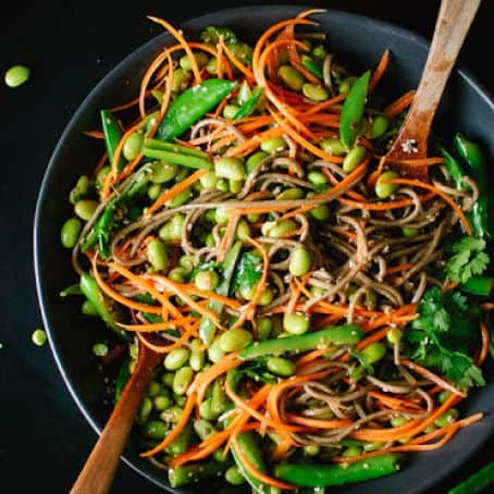 Carrot Soba Noodles and Sugar Snap Peas